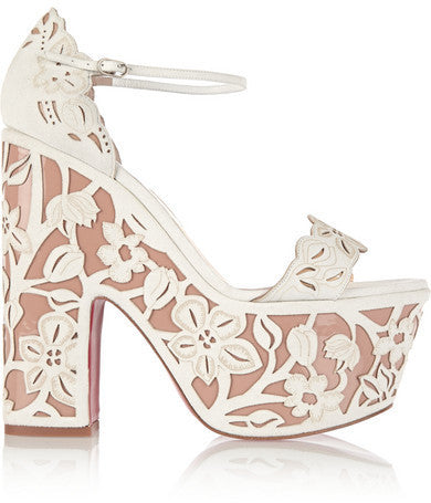 Christian Louboutin Houghton 160 Patent-leather And Suede Platform Sandals - White