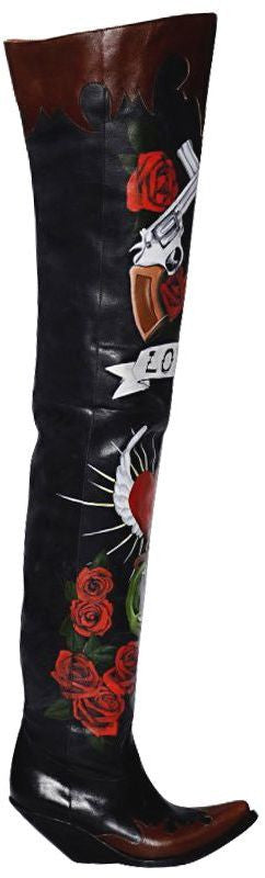Vetements 80mm Painted Leather Cowboy Boots