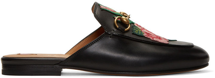 Gucci Black Rose Princetown Loafers