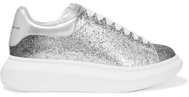 Alexander McQueen Dégradé Glittered Leather Exaggerated-sole Sneakers - Silver