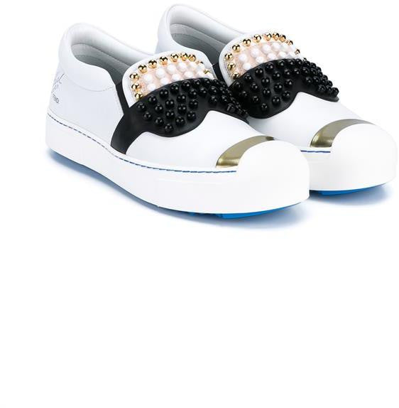 Fendi Karl Studded Leather Sneakers