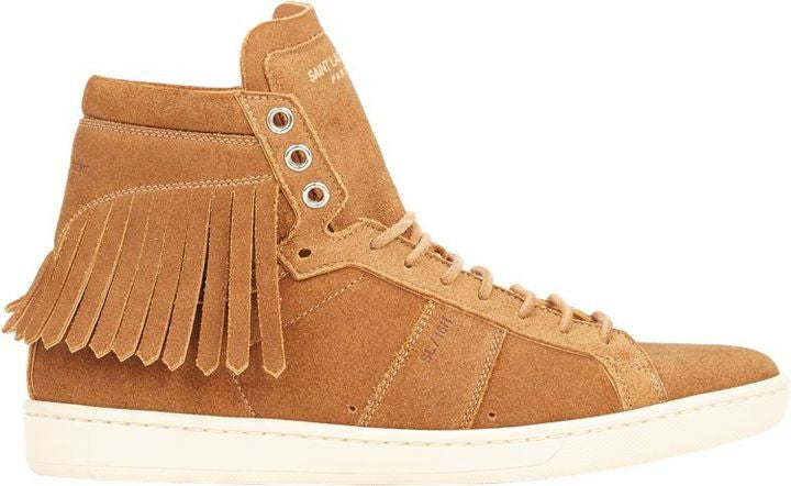 Saint Laurent Women's Fringe-Trim Court Classic Sneakers-Nude