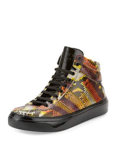Jimmy Choo Belgravia Men's Python & Patent Leather High-Top Sneaker, Multicolor