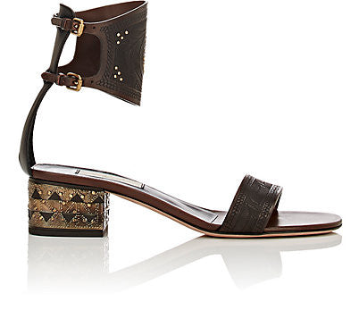 Valentino Studded Ankle-Cuff Sandals