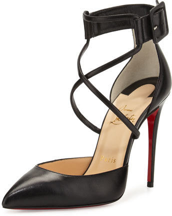 Christian Louboutin Suzanna Leather Crisscross Red Sole Pump, Black