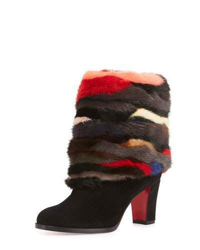 Christian Louboutin Mink-Cuff Suede 70mm Red Sole Bootie, Black