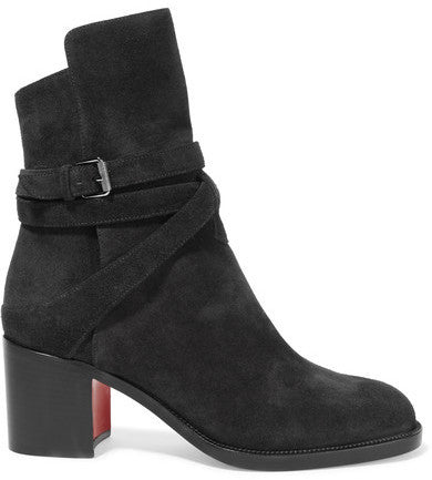 Christian Louboutin Karistrap 70 Suede Ankle Boots - Black
