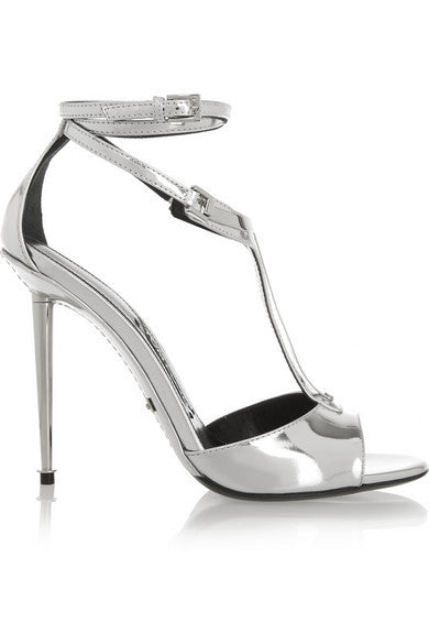 TOM FORD Metallic leather T-bar sandals