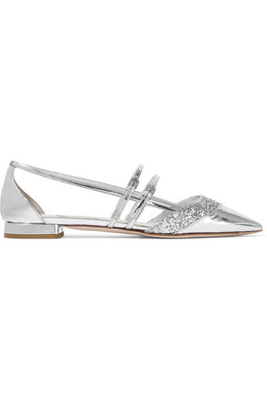 MIU MIU Glitter-trimmed mirrored-leather point-toe flats