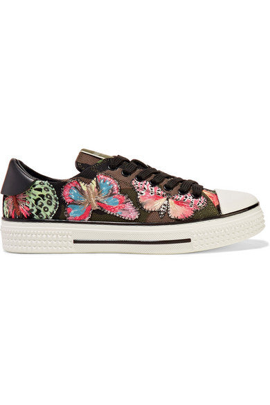 VALENTINO Embroidered appliquéd canvas and leather sneakers