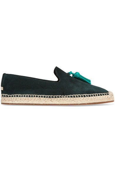 Burberry London Tasseled leather and suede espadrilles