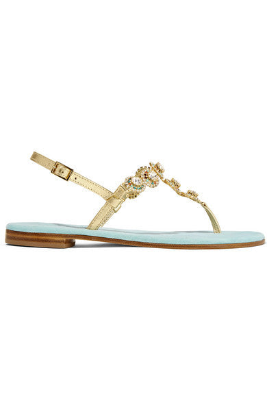 Musa Embellished metallic leather sandals