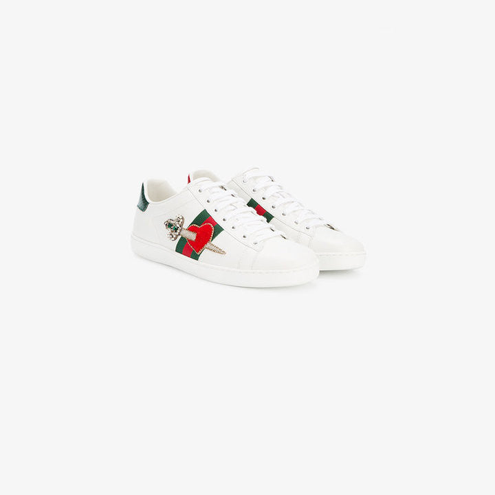 Gucci Ace embroidered heart dagger sneakers