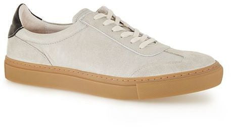 Topman Grey Leather and Suede Retro Sneakers