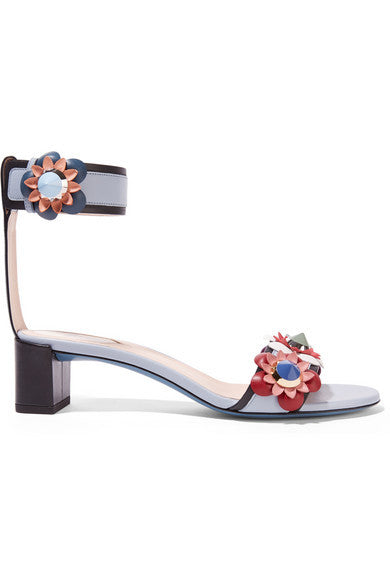 Fendi Floral-appliquéd leather sandals