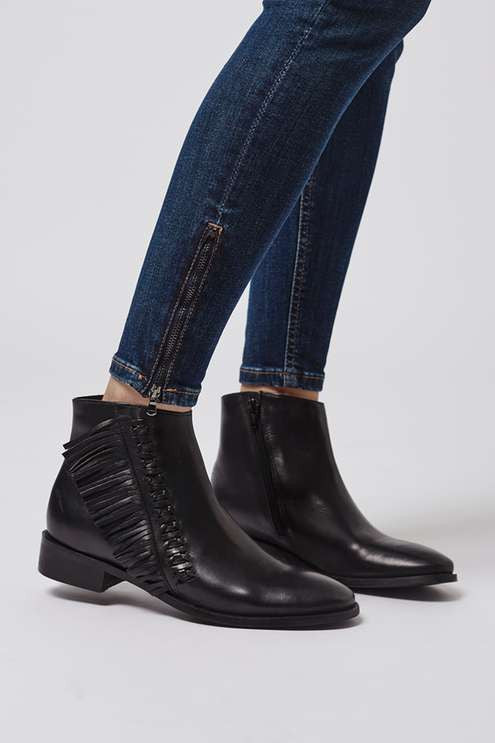 Topshop Kit flat fringe leather boots