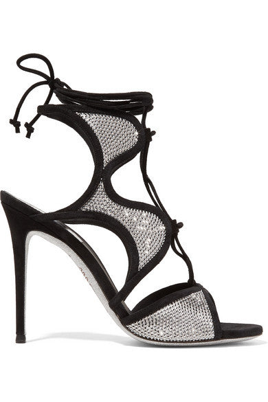 René Caovilla Crystal-embellished satin and suede sandals