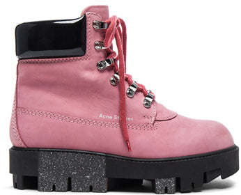 Acne Studios Leather Telde Boots in Pink.