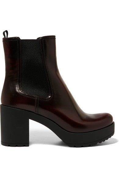 Prada Glossed-leather platform Chelsea boots