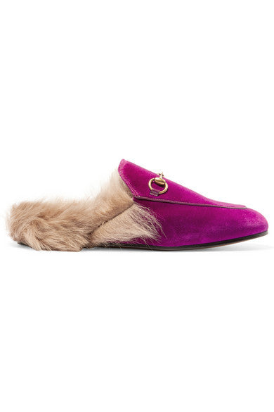 Gucci Horsebit-detailed shearling-lined velvet slippers