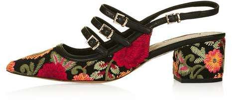 Topshop Java embroidered sling-back mid shoes