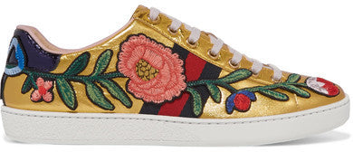 Gucci Ace Watersnake-trimmed Appliquéd Metallic Leather Sneakers - IT40.5