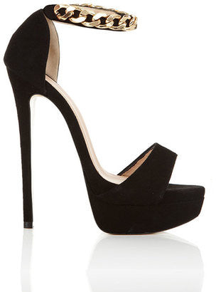 House of CB Nena GOLD CHAIN BLACK SUEDE HEELS