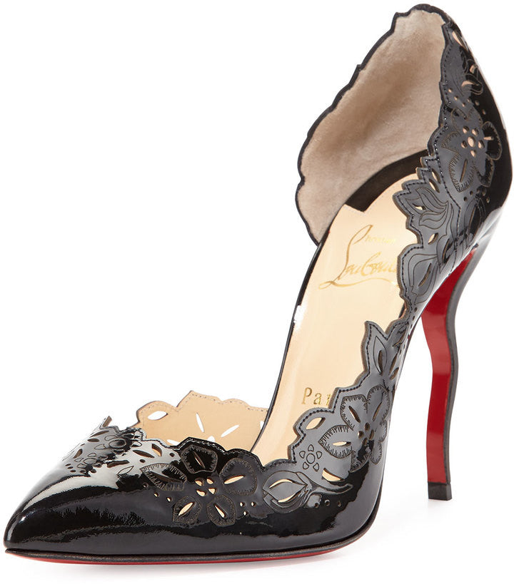 Christian Louboutin Beloved Laser-Cut Patent Red Sole Pump, Black