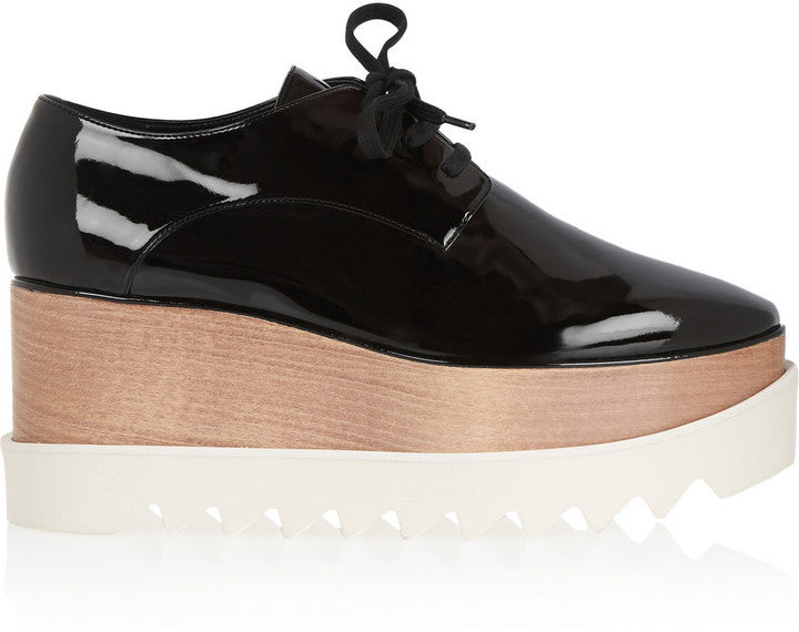Stella McCartney Faux Patent-Leather Platform Brogues