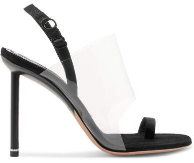 Alexander Wang Kaia Grosgrain-trimmed Suede And Pvc Slingback Sandals - Black
