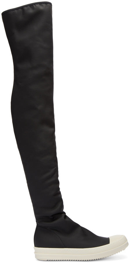 Rick Owens Black Rubber Over-the-Knee Boots