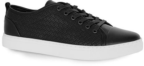 Topman Black Faux Leather Woven Sneakers