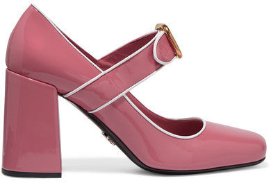 Prada Patent-leather Mary Jane Pumps - Baby pink