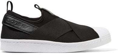 adidas Superstar Slip-on Leather-trimmed Neoprene Slip-on Sneakers - Black