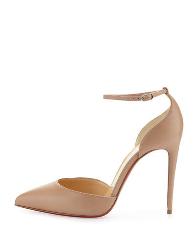 Christian Louboutin Uptown d'Orsay 100mm Red Sole Pump, Nude