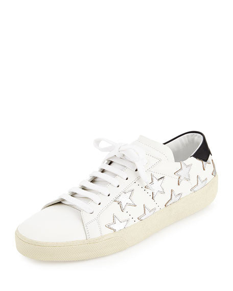 SAINT LAURENT Glitter Stars Leather Sneaker, Blanc/Optique