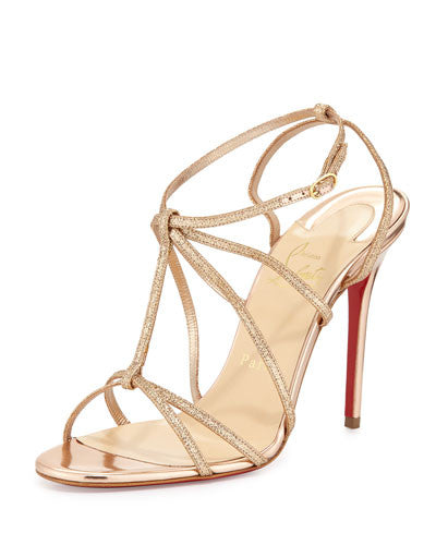 Christian Louboutin Youpiyou Glittered Red Sole Sandal, Nude