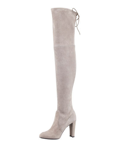 Stuart Weitzman Highland Suede Over-the-Knee Boot, Topo