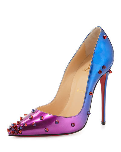 Christian Louboutin DegraSpike Patent Red Sole Pump, Rose/Blue