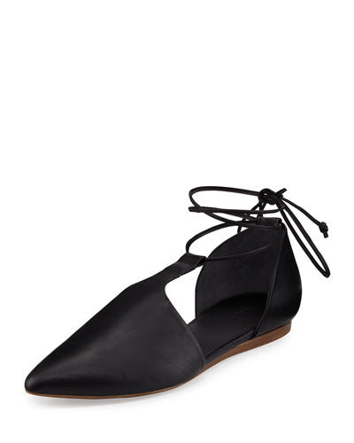 Vince Noella Leather Lace-Up Flat, Black