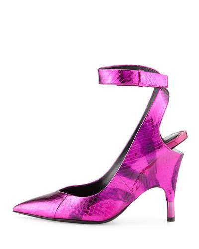 TOM FORD Watersnake Ankle-Wrap Pump, Pink