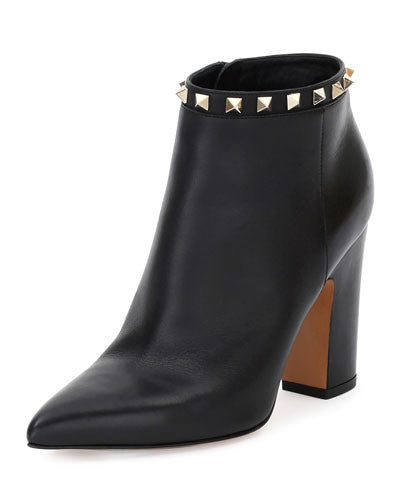 Valentino Rockstud Leather Ankle Boot, Black (Nero)