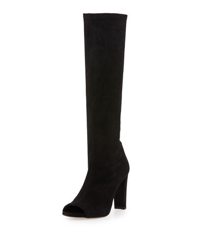 Stuart Weitzman Peking Peep-Toe Knee Boot, Black