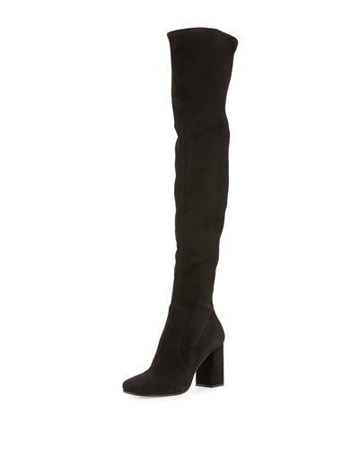 PRADA Suede 85mm Over-The-Knee Boot, Nero