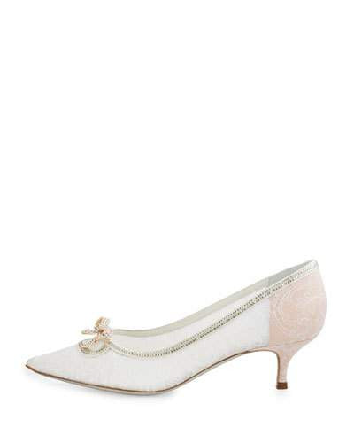 Rene Caovilla Lace Pointed-Toe Bow Flat, White