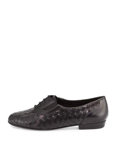Sesto Meucci Nadir Woven Leather Oxford, Black