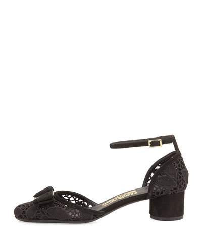 Salvatore Ferragamo Enny Lace d'Orsay 40mm Pump, Black (Nero)