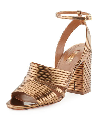 Aquazzura Sundance Metallic Leather Block-Heel Sandals, Antique Gold