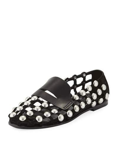 Alexander Wang Sam Studded Suede Cage Loafers