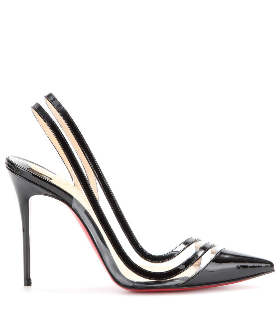 My Theresa Christian Louboutin Paralili 100 Patent Leather Sling Back Pumps